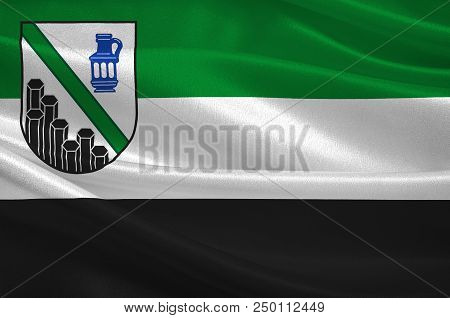 Flag Of Westerwaldkreis Is A District In The East Of Rhineland-palatinate, Germany. 3d Illustration