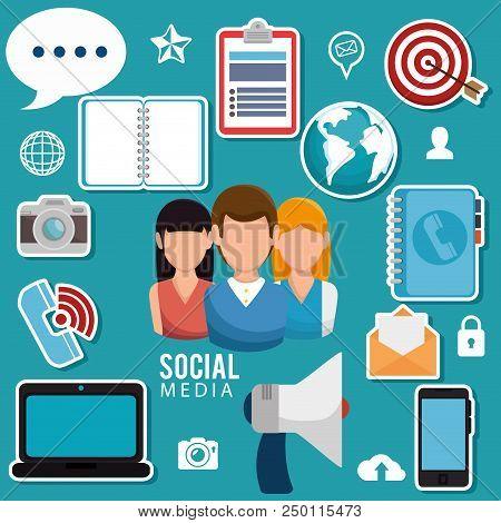 Social Media Community Characters Vector Illustration Design