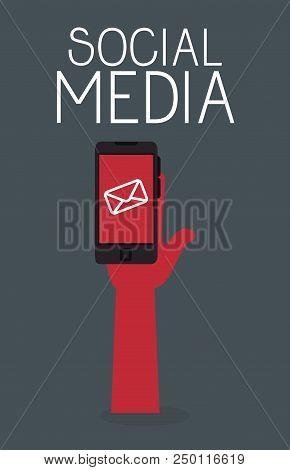 Smartphone With Social Media Icon Vector Illustration Design