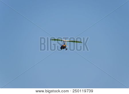 Blagoveshchenskaya, Russia - July 8, 2018: Trike, Flying In The Sky With Two People. Extreme Enterta