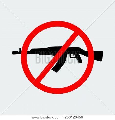 Stop Terror  With Sign Black Gun Icon On White Background.vector Design