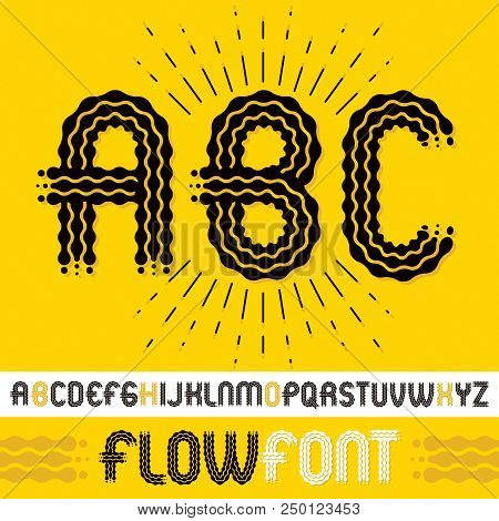 Vector upper case modern pop alphabet letters, abc set. Rounded bold retro font, typescript can be used in art creation. Made with flowing lines. poster