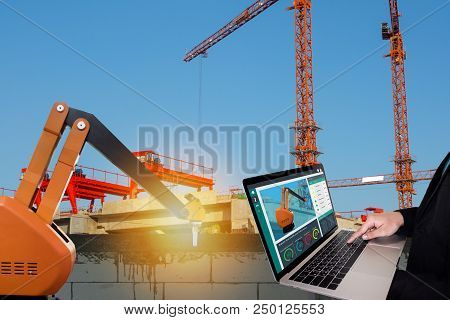 Iot Smart Factory , Industry 4.0 Technology Concept, Engineer Use Computer To Monitor, Detect And An