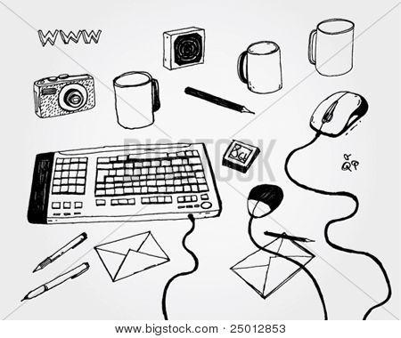Hand Drawn Illustration of Keyboard and Stuff