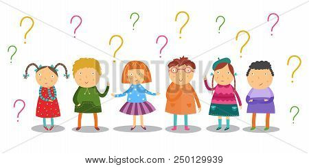 Little Kids Look Thoughtfully And Stand Under Lot Of Question Marks Set Isolated On White Background