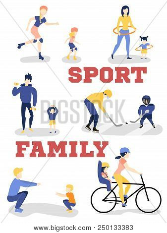 Vector Flat Family Characters Doing Sports Set. Girl Boy Kids, Mother, Father Woman Man Adults Worki