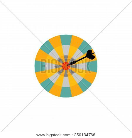 Dartboard With Arrow In Center Target Isolated On White Background. Success And Hitting Straight To