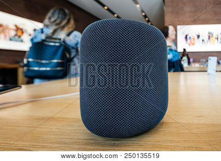 Paris, France - Jul 16, 2018: New Apple Store The Latest Apple Computers Homepod Smart Speaker With