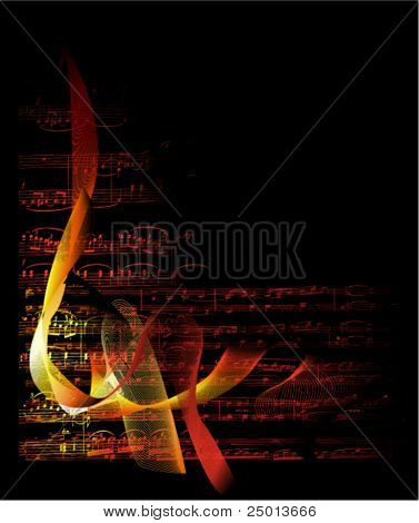 musical notes on fire background vector