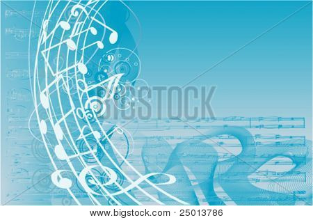musical notes and waves background