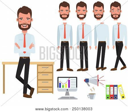 Male Office Manager At Desk Character Set With Different Poses, Emotions, Gestures. Part Of Body, Co