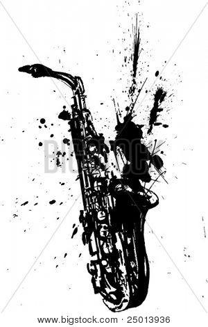 handmade saxophone illustration-vector