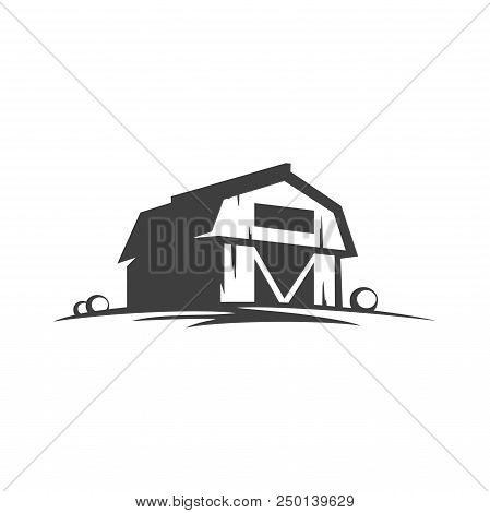 Farm Barn Silhouette Isolated On White Background Vector Object In Retro Style. Can Be Used For Logo