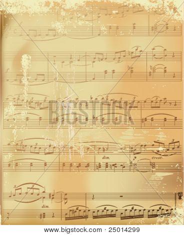 aged sheet music-vector illustration