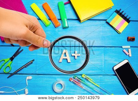 School Supplies In The Creative School Desk, Stationery, School Concept, Blue Background, Creative C