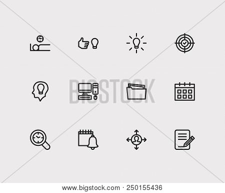 Task Icons Set. Wake Up Earlier And Task Icons With Organize Workplace, Fresh Mind And Group Tasks.