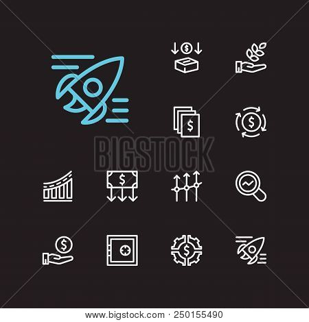 Economy Icons Set. Hand Money And Economy Icons With Agriculture Investment, Investment Services And