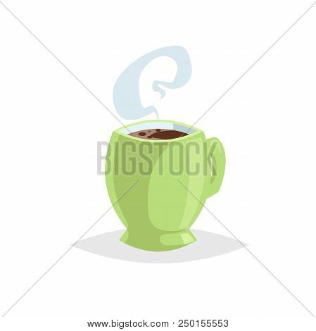 Cartoon Style Cup With Hot Drink. Coffee Or Tea. Trendy Decorative Design. Great For Cafe Menu. Gree