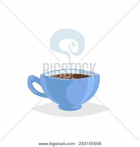 Cartoon Style Cup With Hot Drink. Coffee Or Tea. Trendy  Decorative Design. Great For Cafe Menu. Blu
