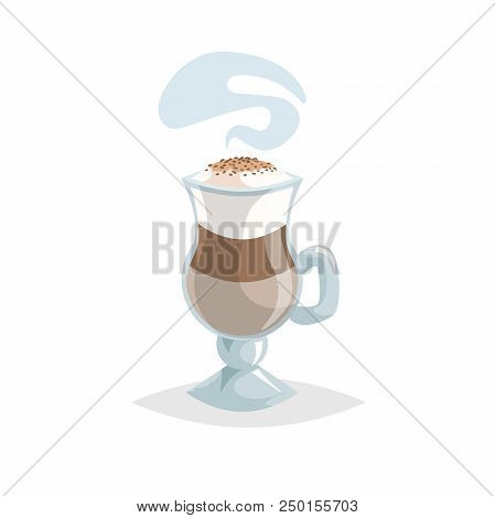 Glass With Latte Macchiato Layered Coffee. Cartoon Trendy Style. Special Mug With Handle. Beautiful
