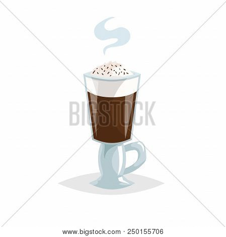 Glass Irish Black Coffee. Cartoon Trendy Style. Special Mug With Handle. Chocolate Topping. Great Fo