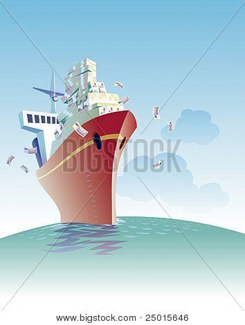 Ein Frachtschiff ist voller Geld Segeln.