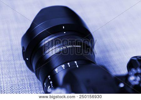 Paris, France - Jun 30, 2018: New Panasonic Lumix Dmc-gh5 And Newest Leica Vario-elmarit 8-18 Micro