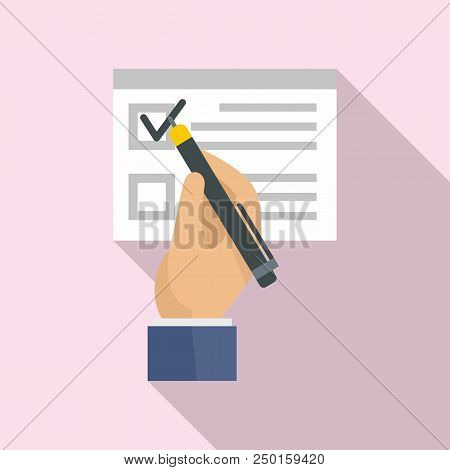 Vote Sign On Paper Icon. Flat Illustration Of Vote Sign On Paper Vector Icon For Web Design
