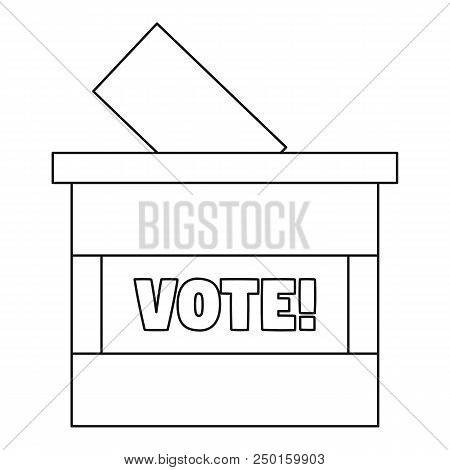 Wood Vote Box Icon. Outline Wood Vote Box Vector Icon For Web Design Isolated On White Background