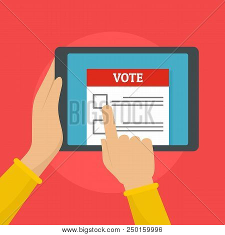 Online Voting Background. Flat Illustration Of Online Voting Vector Background For Web Design