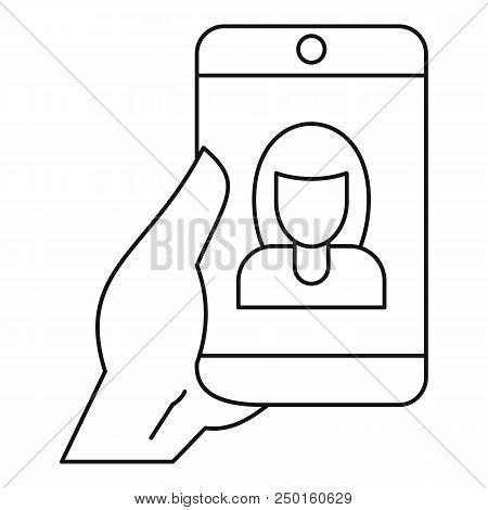 Woman Take Selfie Smartphone Icon. Outline Woman Take Selfie Smartphone Vector Icon For Web Design I