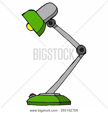Green Desk Lamp On White Background. Table Lamp. Vector Illustration Of Retro Table Lamp. Hand Drawn