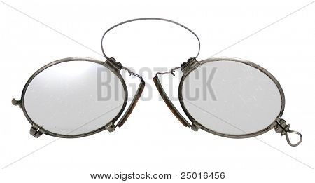 Antique pince-nez (eyeglasses) isolated on white background