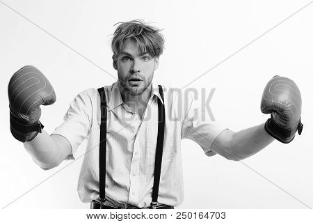 Manager Provokes To Attack. Boxing And Comic Conflict Concept. Man With Bristle And Scared Face Wear