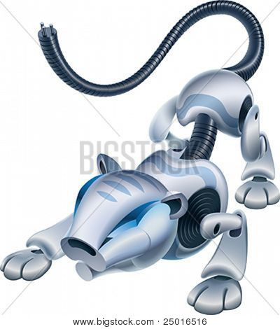 Artificial animal, the Robo-tiger is ready to jump. Vector illustration.