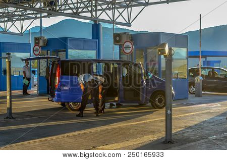 Ivanica, Bosnia And Herzegovina - October 3 2017: A Van Is Stopped And Checked By Two Inspectors At