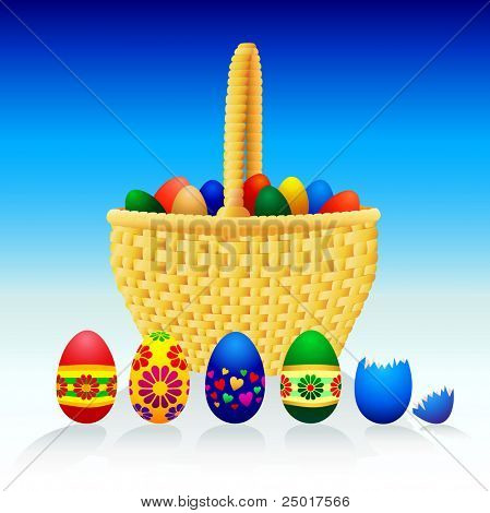 Easter Eggs and Basket - Vector.