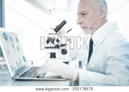 Online Research. Professional Smart Experienced Researcher Sitting In Front Of The Laptop And Lookin