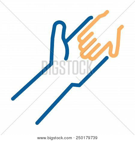 Adult And Child Holding Hands Icon. Vector Thin Line Illustration. Humanitarian Help, Adopting A Chi