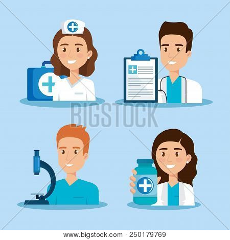 Healthcare Icons And Medical Staff Characters Vector Illustration Design
