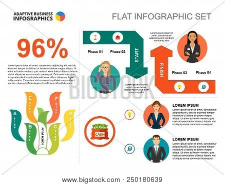 Financial Percentage Chart Template For Presentation. Business Data. Abstract Elements Of Diagram, G