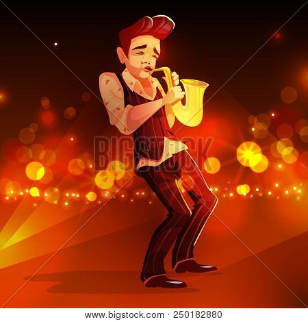 Jazzman With Saxophone Vector Illustration. Man Playing Jazz Music In Retro Suit And Shirt With Sax