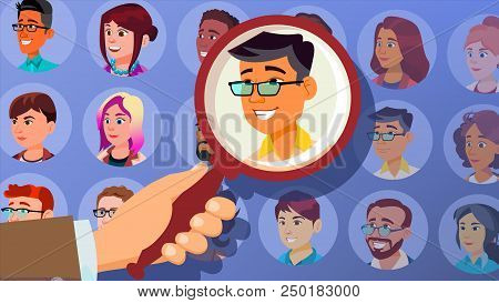 Human Recruitment Vector. Man. Business Man Picked In Recruitment. Select, Pick Up. Individual. Peop