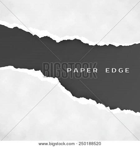 Old Gray Torn Paper Isolated Over Black Background. Torn Paper Edge. Paper Texture. Rough Broken Bor