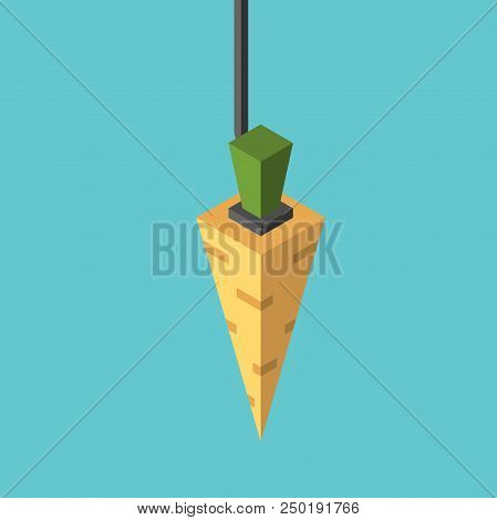 Isometric Carrot Hanging On String On Turquoise Blue Background. Motivation, Lure, Ambition, Vanity