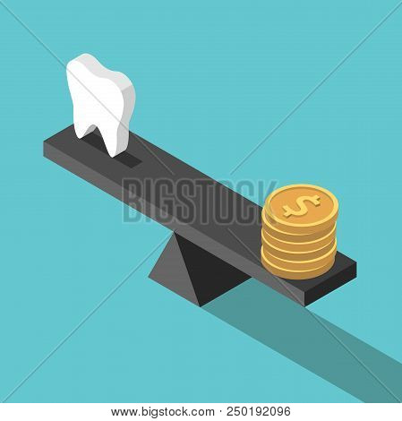 Isometric White Tooth And Gold Dollar Coins On Seesaw Weight Scales On Turquoise Blue. Dental Care,