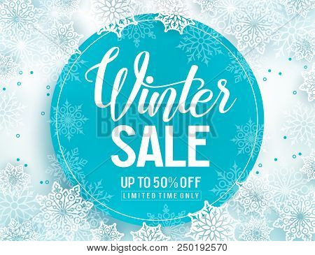 Winter Sale Vector Banner Template With White Snowflakes Background, Snow Elements And Blue Circle F