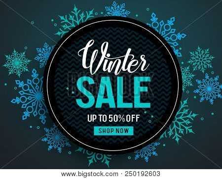 Winter Sale Vector Banner Template With Colorful Snowflakes Elements And Black Empty Circle For Disc