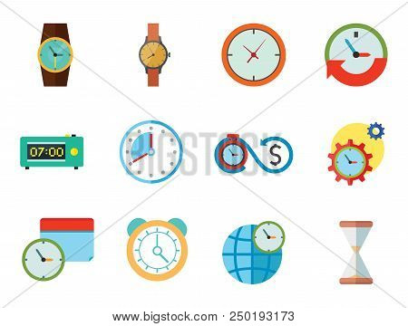 Time Icon Set. Time Is Money Time Management Calendar World Time Alarm Clock Sandglass Round-the-clo