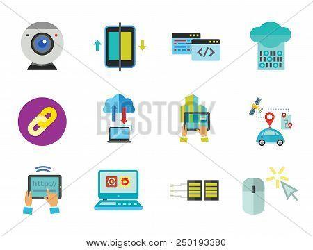Network Icon Set. Web Camera Mouse Synchronization Data Flow Hyperlink Internet Sign Tablet Internet